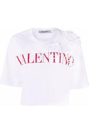 VALENTINO Women T-shirts - Floral-applique logo-print T-shirt