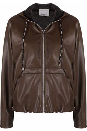 Pinko Women Leather Jackets - Zip-up hooded jacket