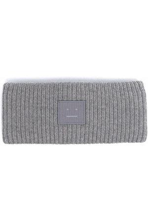 Acne Studios Headbands - Face-patch ribbed knit headband - Grey