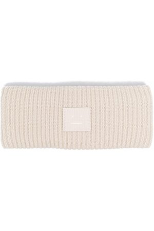 Acne Studios Face-patch ribbed knit headband - Neutrals