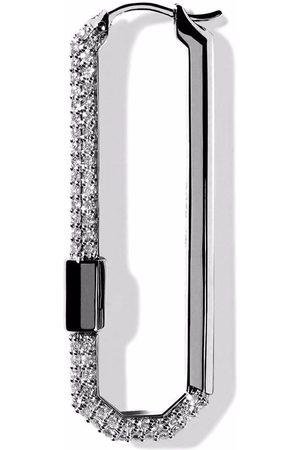 AS29 Women Earrings - 18kt gold large Lock pave diamond earring