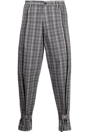 Atto Tetteh Straight Leg Pants - Plaid ankle-strap trousers - Grey
