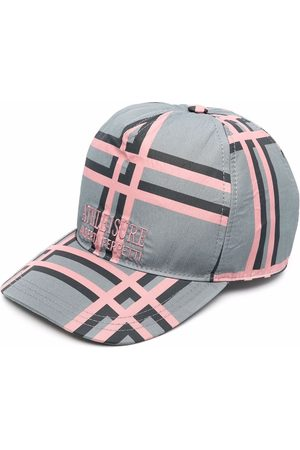 Alberta Ferretti Women Caps - Logo-embroidered checked cap - Grey