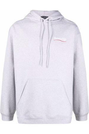 Balenciaga Embroidered-logo drawstring hoodie - Grey