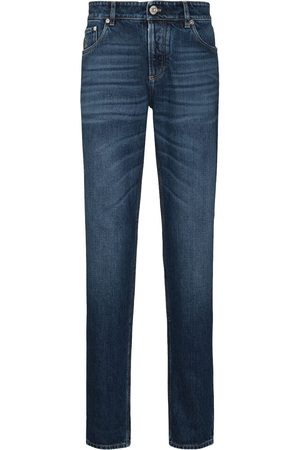 Brunello Cucinelli Men Slim - Distressed mid-rise jeans