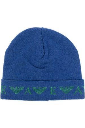Emporio Armani Girls Beanies - Fine-knit logo-motif beanie