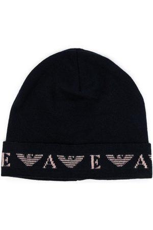 Emporio Armani Beanies - Fine-knit logo-motif beanie