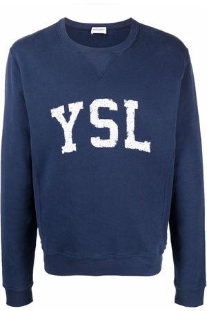 Saint Laurent Men Sweatshirts - Logo-print cotton sweatshirt