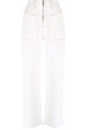 Bash Women Pants - Topstitched denim trousers - Ecru