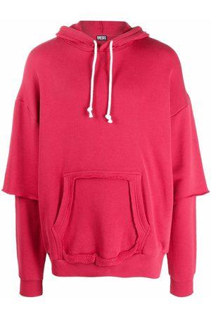 Diesel Men Hoodies - Layered cotton drawstring hoodie