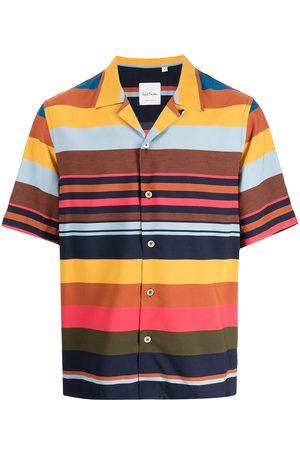 Paul Smith Men Short sleeves - Striped colour-block short-sleeve shirt - Multicolour