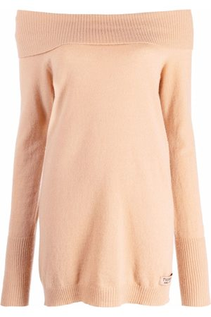 Twin-Set Women Strapless Tops - Off-the-shoulder knitted top - Neutrals