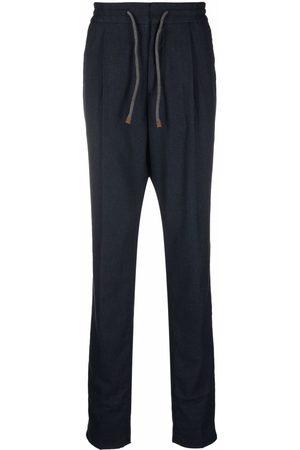 Brunello Cucinelli Men Straight Leg Pants - Drawstring waist cotton trousers