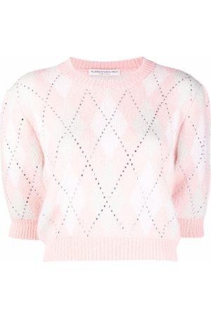 Alessandra Rich Crystal-embellished argyle cropped jumper