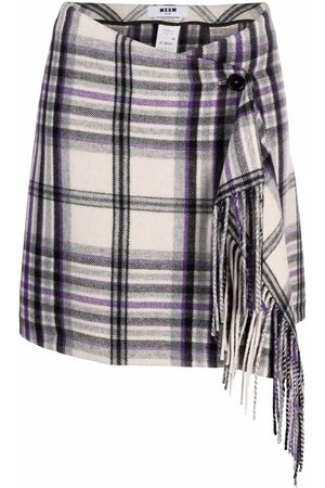Msgm Wrap plaid-check miniskirt - Grey