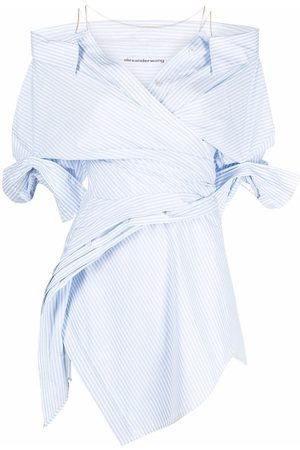 Alexander Wang Women Strapless Dresses - Off-shoulder asymmetric shirtdress