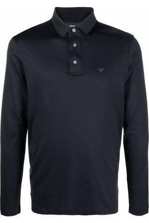 Emporio Armani Men Polo Shirts - Logo-print long-sleeve polo shirt