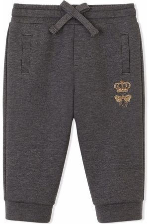 Dolce & Gabbana Bee-embroidered track pants - Grey