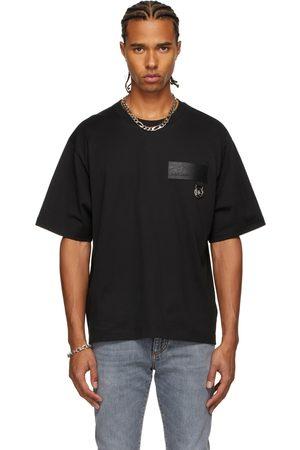 Dolce & Gabbana Men T-shirts - Black Faux-Leather Patch T-Shirt