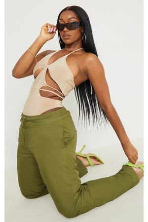 PRETTYLITTLETHING Women Bodies - Stone Slinky Extreme Cut Out Detail Halterneck Bodysuit