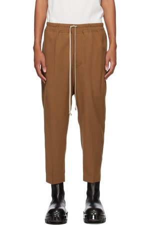 Rick Owens Men Pants - Tan Wool Cropped Drawstring Astaires Trousers