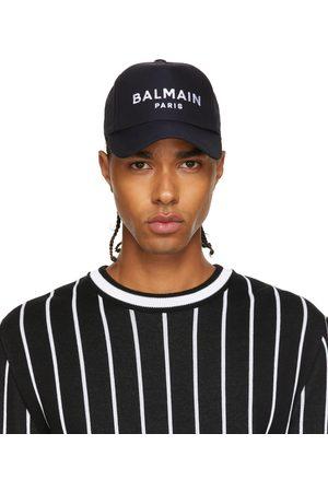 Balmain Men Caps - Black Twill Logo Cap