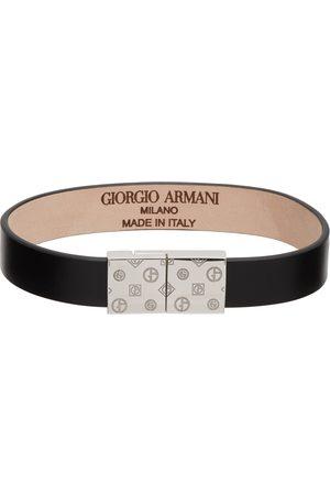 Armani Men Bracelets - Black Leather & Silver Bracelet