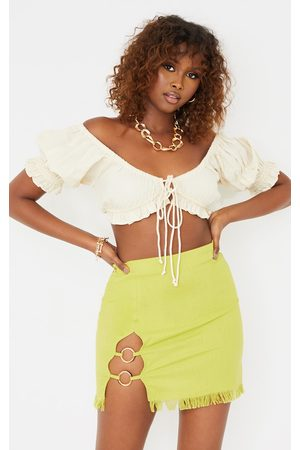 PRETTYLITTLETHING Women Party Dresses - Lime Ring Detail Mini Skirt