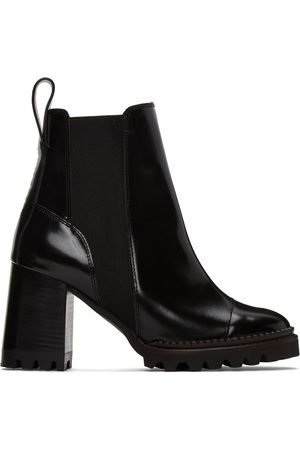 See by Chloé Women Heeled Boots - Black Leather Mallory Heeled Boots