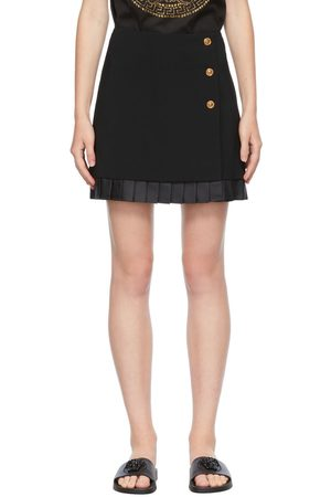 VERSACE Women Mini Skirts - Black Medusa Button Miniskirt