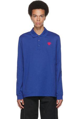 VERSACE Men Polo Shirts - Blue Medusa Long Sleeve Polo