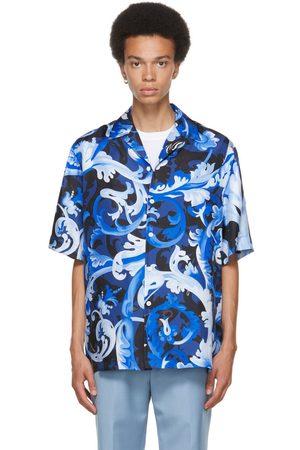 VERSACE Men Short sleeves - Blue Silk Boroccoflage Short Sleeve Shirt