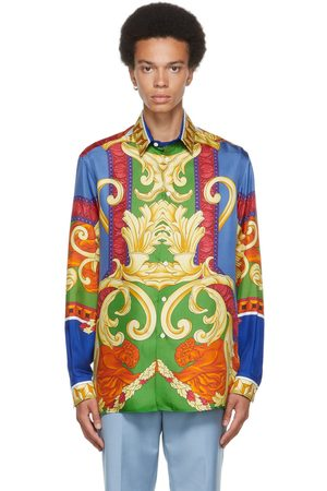 VERSACE Men Shirts - Multicolor Silk Medusa Renaissance Shirt