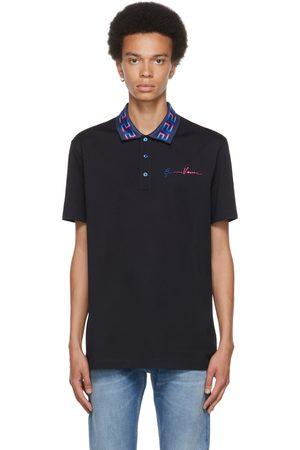VERSACE Men Polo Shirts - Navy Embroidered Greca Collar Polo