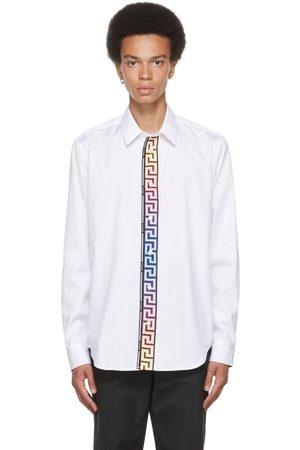 VERSACE Men Shirts - White Cotton Poplin Greca Accent Shirt