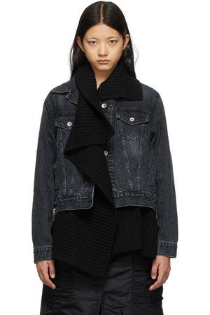Sacai Women Denim Jackets - Denim & Knit Jacket