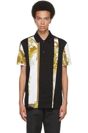 VERSACE Men Polo Shirts - Black & Gold Medusa Renaissance Print Polo
