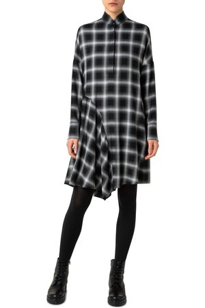 Akris punto Women's Plaid Long Sleeve Button Front Dress