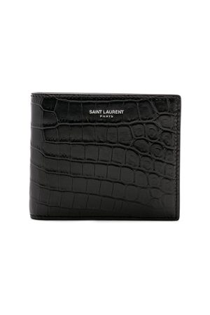 Saint Laurent Matte Croc Billfold Wallet in ,Animal Print