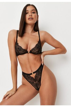 Missguided M Clasp Lace Cut Out Bra And Thong Lingerie Set