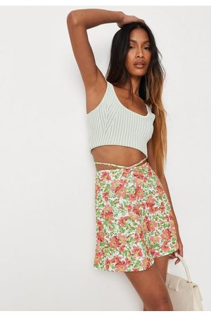 Missguided Green 70S Floral Print Tie Detail Skater Skirt