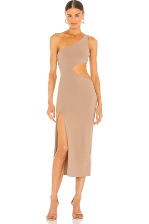 h:ours Almira Midi Dress in Nude.