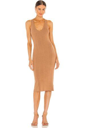 L'Agence Women Knitted Dresses - Josephine V Neck Knit Dress in Tan.