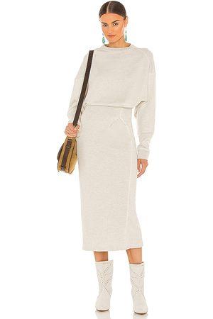 Isabel Marant Meg Midi Dress in Light Grey.