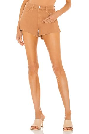 L'Agence Audrey Mid Rise Short in Tan.