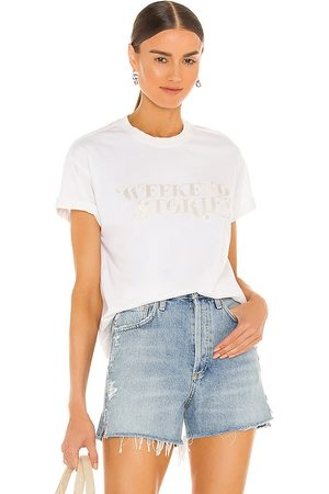Weekend Stories Patreace T Shirt in Ivory.