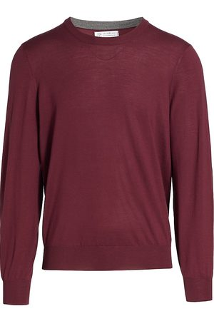 Brunello Cucinelli Men Sweatshirts - Wool Elbow Patch Sweater