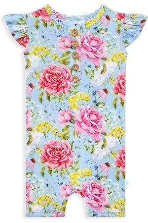 Posh Peanut Girls T-shirts - Baby Girl's & Little Girl's Sadie Ruffled Cap-Sleeve Henley Shorts Romper