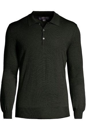 CANALI Men Polo Shirts - Merino Wool Long-Sleeve Polo