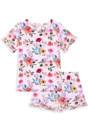 Posh Peanut Little Girl's & Girl's Kimberly Micro-Ruffled Two-Piece Pajamas Set
